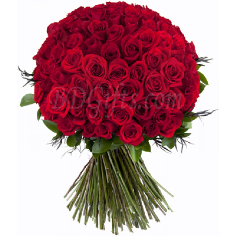 90 pcs red roses in bouquet