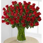 50 pcs red roses in vase
