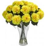16 pcs yellow carnations in vase