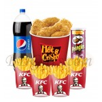 Chicken with french fried, pepsi and pingles chips
