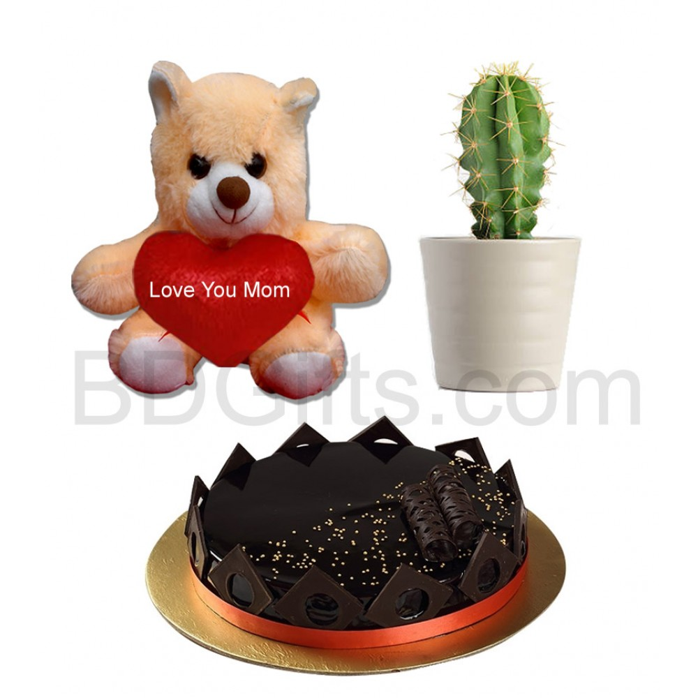 Cake with bear and cactus