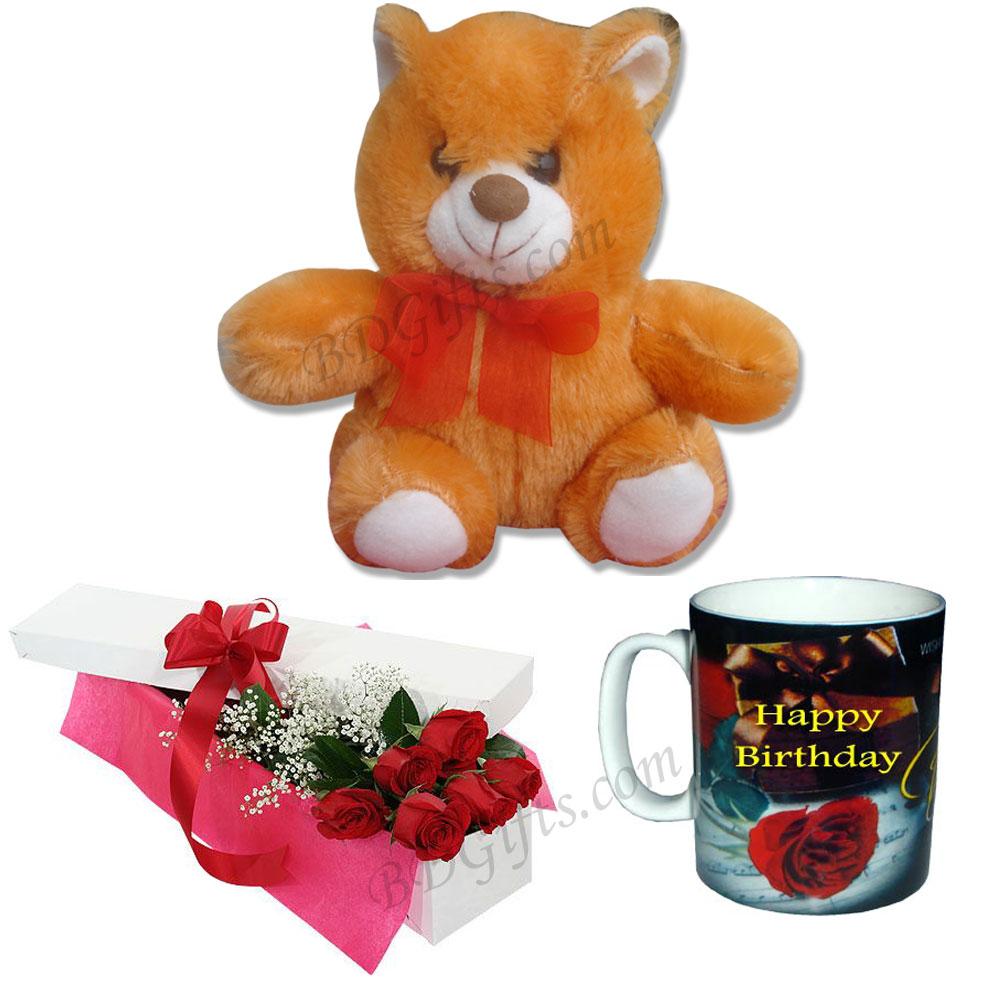 Teddy Bear W Red Rose Birthday Mugs